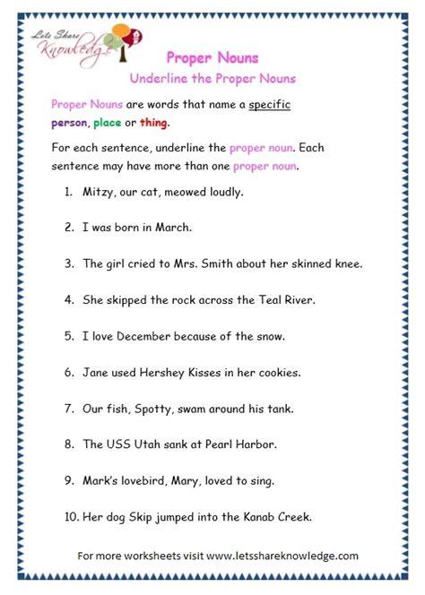 grade  grammar topic  proper nouns worksheets lets