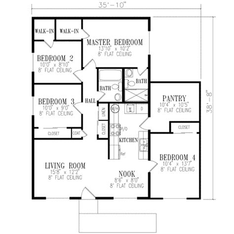ranch style house plan 4 beds 2 00 baths 1240 sq ft plan