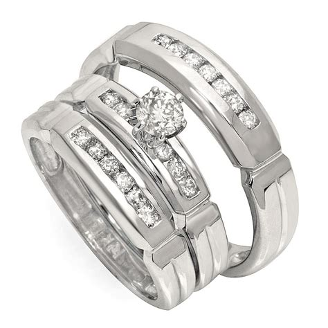 luxurious trio marriage rings half carat cut gold jeenjewels