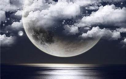 Moon Ocean Clouds Desktop Wallpapers Backgrounds Photomanipulation