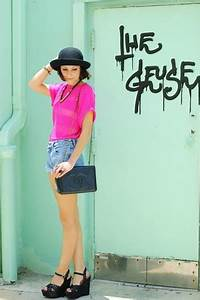 Hot Pink Tops Black Bags Light Blue Shorts Black Wedges