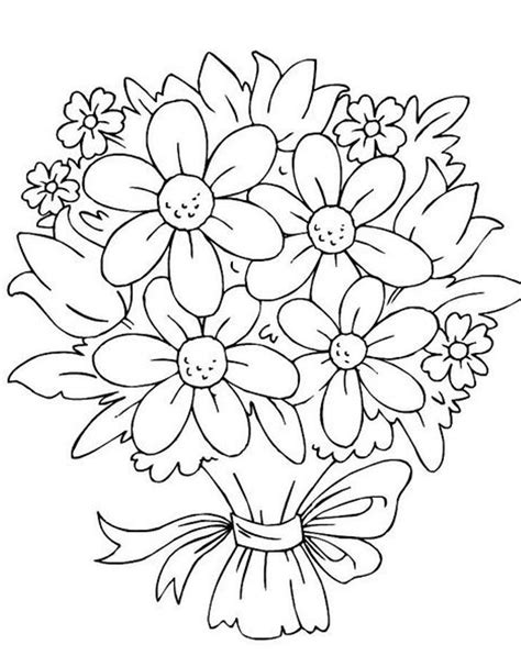 Wedding Flowers Coloring Pages Bouquet Of Flowers Coloring Pages Coloring Pages Trisha
