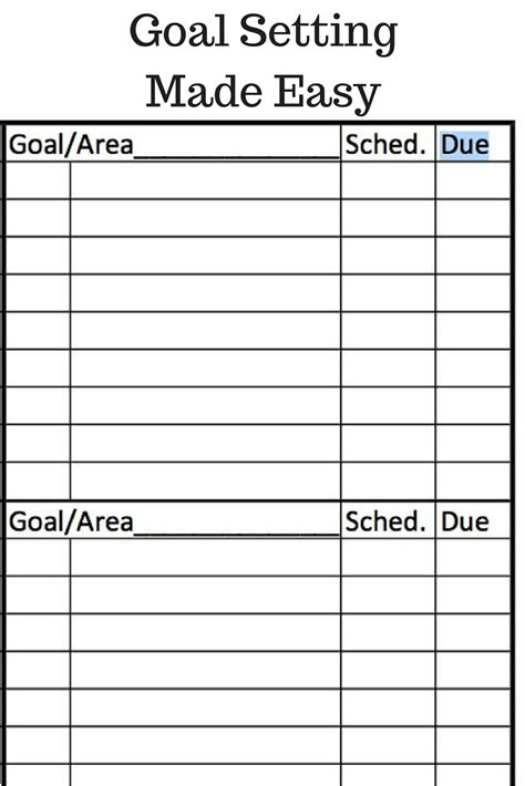 Goal Setting Calendar Template by Goal Setting Planner Template