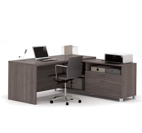 Office Desk Gray by Modern Premium L Shaped Desk In Bark Gray Finish
