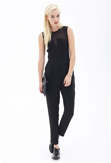 jumpsuit forever 21 forever 21 chiffon trimmed jumpsuit in black lyst