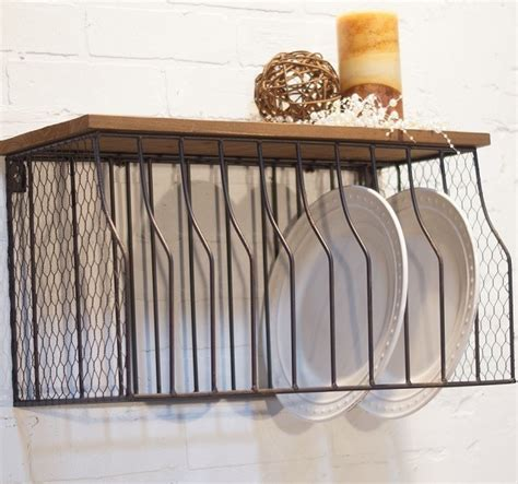metal wall mounted plate rack  wood top miami  antique farmhouse