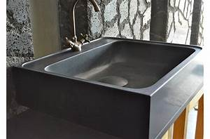 Evier Cuisine En Pierre : 70 x 60cm vier de cuisine en granit noir v ritable ~ Premium-room.com Idées de Décoration