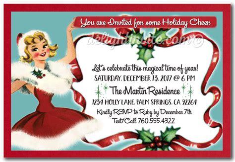 retro vintage christmas holiday party invitations di