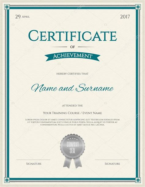 certificate template  vector  achievement graduation
