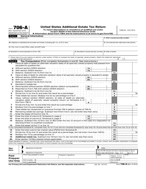 form   united states additional estate tax return