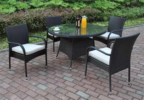 resin outdoor dining table 5 pcs outdoor patio dining set round glass table black pe
