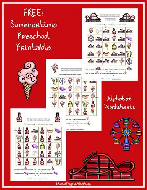 Summertime Printable Alphabet Worksheets For Preschool  Blessed Beyond A Doubt