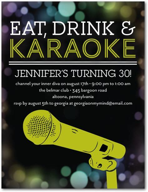 karaoke idol adult birthday party invitations postcard