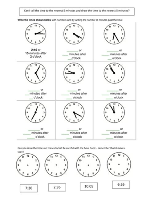 telling time analogue to digital 5 min matching by