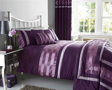 Double Duvet Cover Set And Matching Curtains In Plum With Satin Pintuck Ruffle Detail (duvet Set Readymade Curtains Uk Fabric Calculator For Curtain Blind Duck Hunting Best Thermal Reviews Vinyl Freezer Lilac Silk How To Calculate Make Pull Up