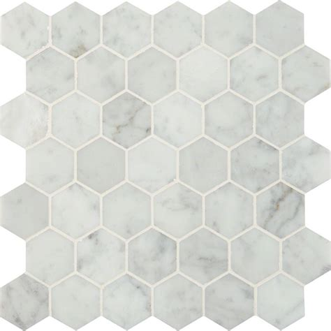 ms international carrara white hexagon 12 in x 12 in x