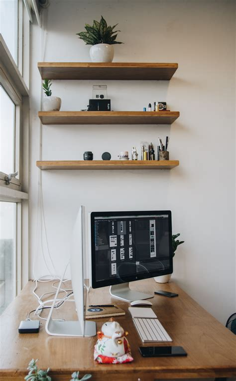 imac  desk  stock photo