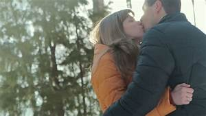 Man And Woman Kissing Madly Beautiful In Autumn Park. She ...