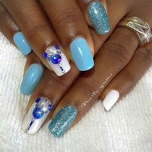 Awesome, Blue, And, White, Nail, Designs