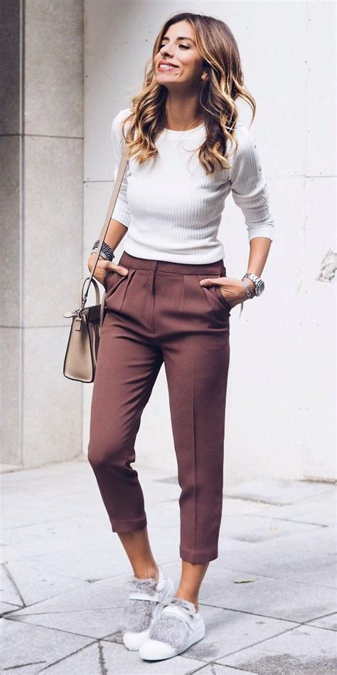 #fall #outfits u00b7 White Top + Purple Pants + White Sneakers ...