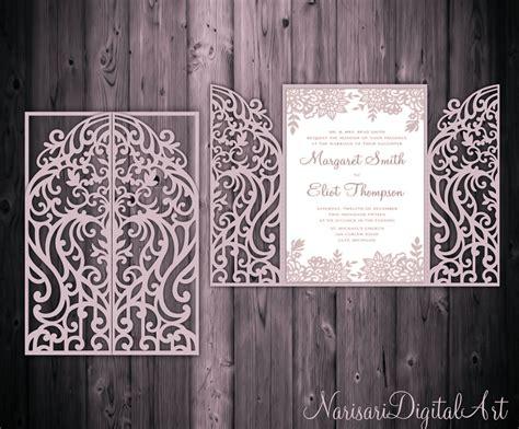 5x7'' Gate Fold Door Wedding Invitation Card Template