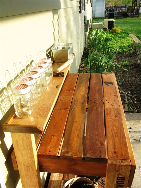 modified reclaimed wood potting bench ana white