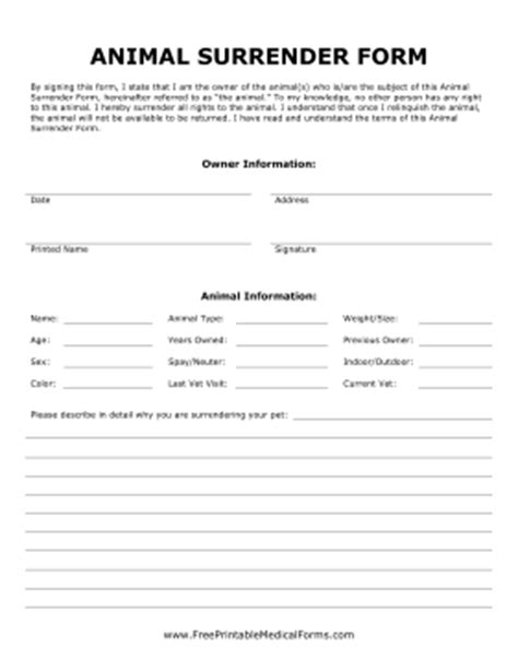 printable animal surrender form