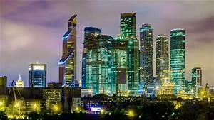 Moscow International Business Center At Night Wallpaper