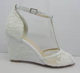 white wedding wedges shoes lace wedding wedges