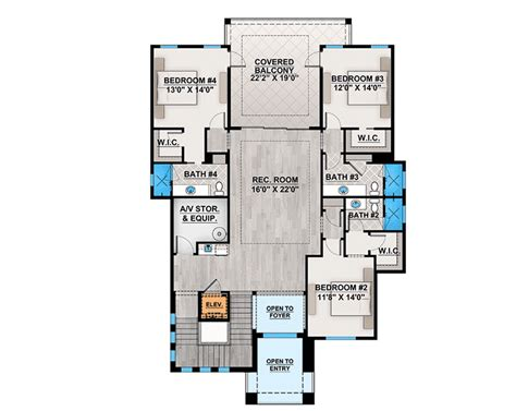 Florida House Plan With Second Floor Rec Room
