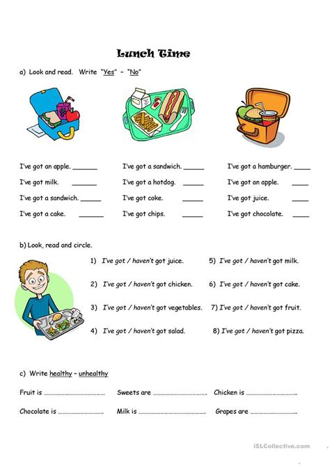 lunch time english esl worksheets  distance learning