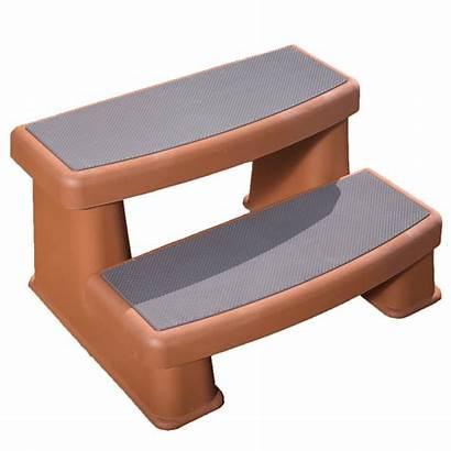 Tub Steps Polymer Redwood Spa Spring Teak
