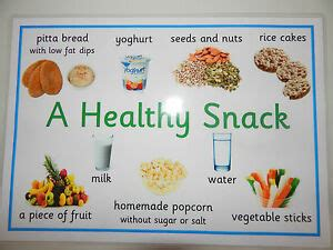 Fruits, vegetables, proteins, grains, and dairy are part of a healthy diet. A HEALTHY SNACK - A4 POSTER - EYFS/NURSERY/CHILDMINDERS/SCHOOLS/HEALTHY LIVING | eBay