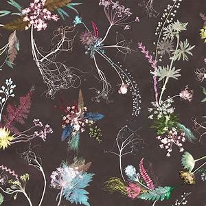 vintage feature wallpaper, botanical style by gillian ...