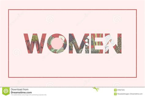 Woman Word Graphic With Floral Pattern Concept Cartoon ...