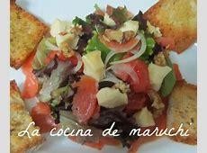 la cocina de maruchi La ensalada de salmón ahumado, queso
