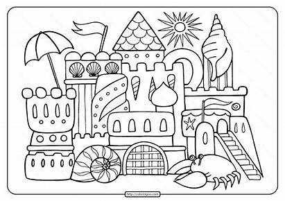 Coloring Adult Printable Sandcastle