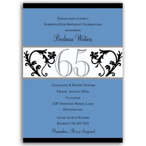 Elegant Vine Blue Th Birthday Milestone Invitations