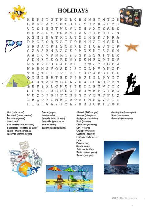 holidays word search worksheet  esl printable