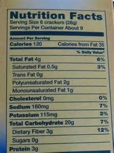 Triscuit Crackers Nutrition Label