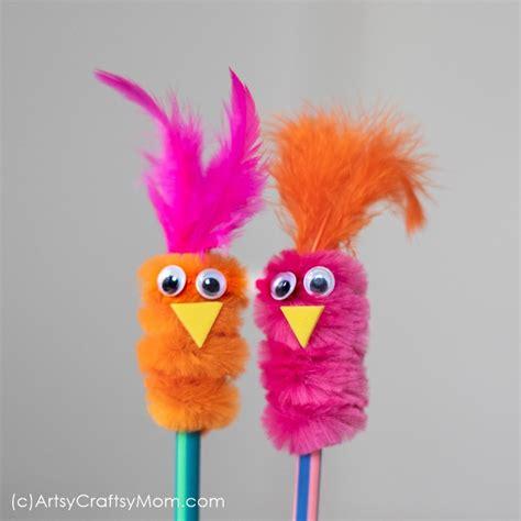 pipe cleaner pencil topper bird craft   school diy