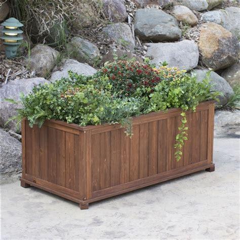 outdoor raised patio planter box  dark brown wood