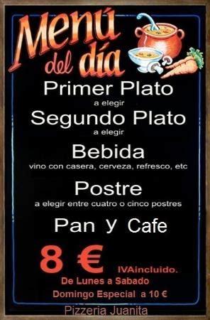 menu de  picture  pizzeria juanita el pinar de