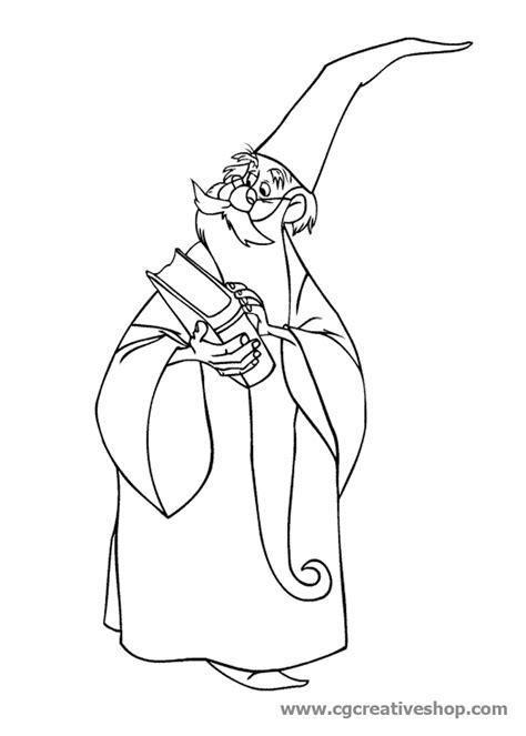 disegni da colorare disney re mago merlino disney disegno da colorare