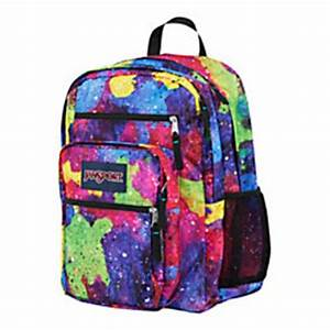 JanSport Big Student Polyester Backpack Multi Neon Galaxy