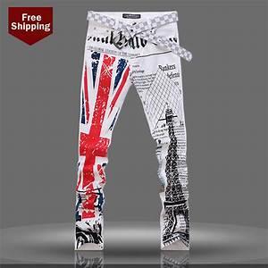 High fashion designer brands cowboy printed British flag jeans for men jeans straight-in Jeans ...
