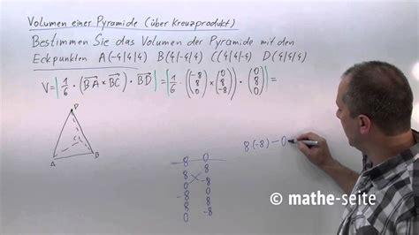 volumen dreiseitige pyramide berechnen ueber kreuzprodukt