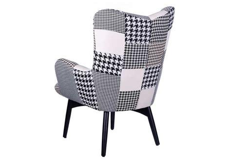 siege scandinave fauteuil rétro patchwork noir et blanc 78 x 84 x 100 cm