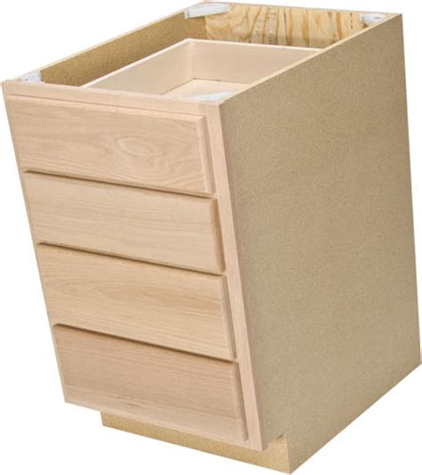 18 inch deep base cabinets unfinished quality one 18 quot x 34 1 2 quot unfinished oak 4 drawer base