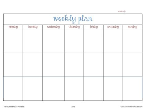 cluttered house weekly planner printable house plans